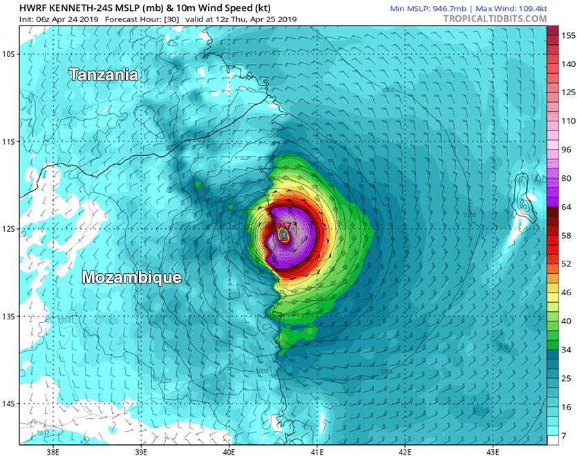 Predicted surface winds (colors) at 12Z (8 am EDT) Thursday, April 25, 2019, from the 6Z Wednesday run of the HWRF model