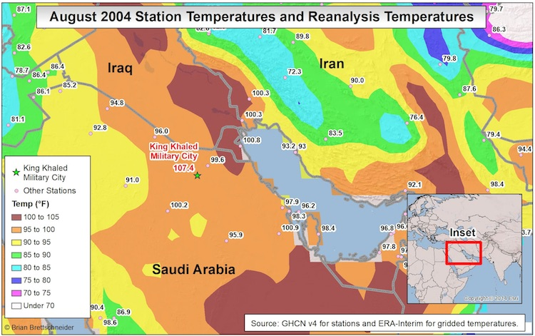 Map of temperature averages in Persian Gulf region for month of Aug. 2014