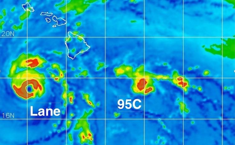 AMSR2 image of Hurricane Lane and Invest 95C, 8/23/2018