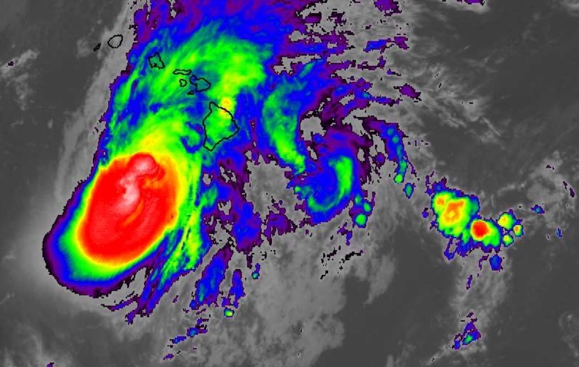 Infrared image of Hurricane Lane at 0445Z Friday, August 24, 2018