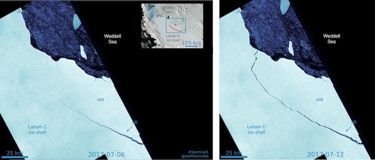 Progress of Larsen C ice shelf rift from 7/6/2017 to 7/12/2017