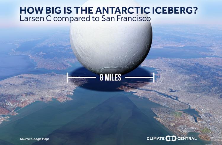 Larsen C iceberg as sphere compared to SF Bay region