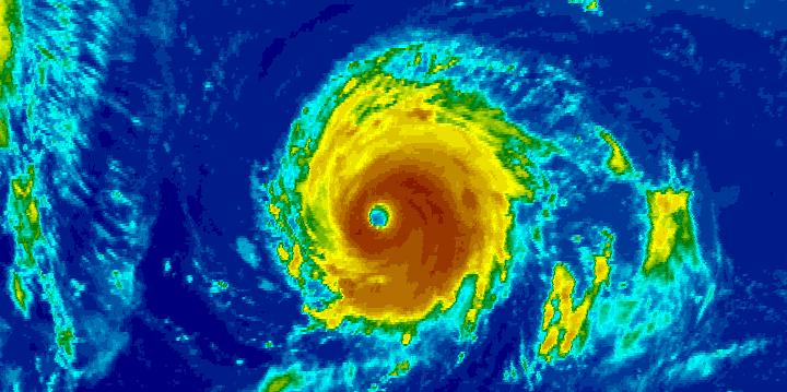 Enhanced infrared image of Hurricane Lee at 10:45 am EDT Wednesday, September 27, 2017.