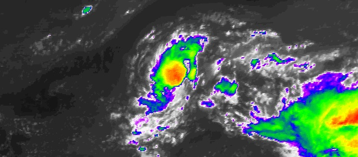 Infrared satellite image of Tropical Storm Lee as of 12:15 pm EDT Saturday, September 23, 2017.