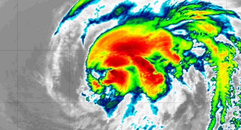 Enhanced infrared image of Tropical Storm Leslie at 0350Z (11:50 pm EDT) Monday, October 8, 2018
