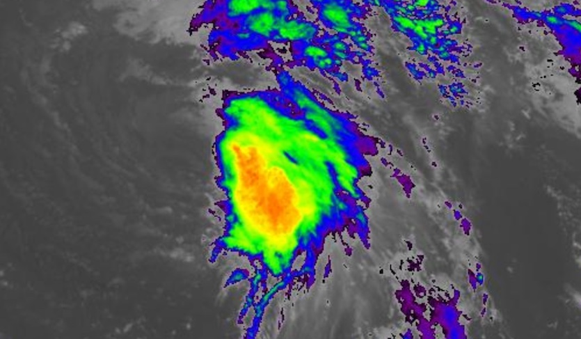 Infrared-wavelength image of Tropical Storm Leslie as of 1815Z (2:15 pm EDT) Sunday, September 30, 2018