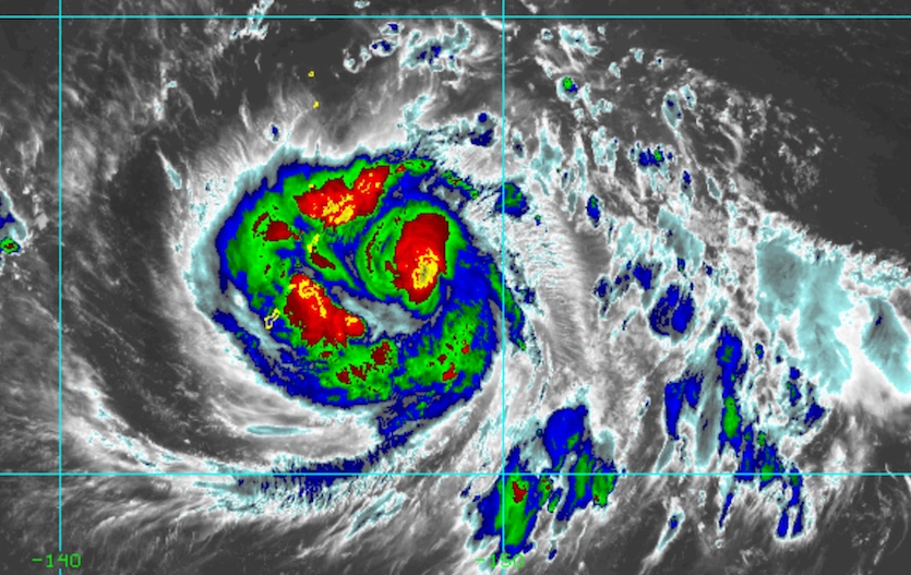Enhanced infrared Himiwari-8 satellite image of Typhoon Mangkhut at 2210Z (6:10 pm EDT) Sunday, September 9, 2018