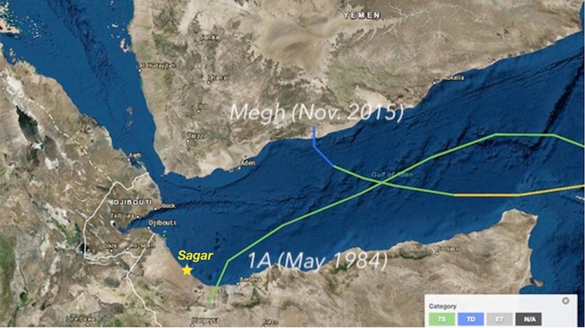 Tropical cyclones in western Gulf of Aden