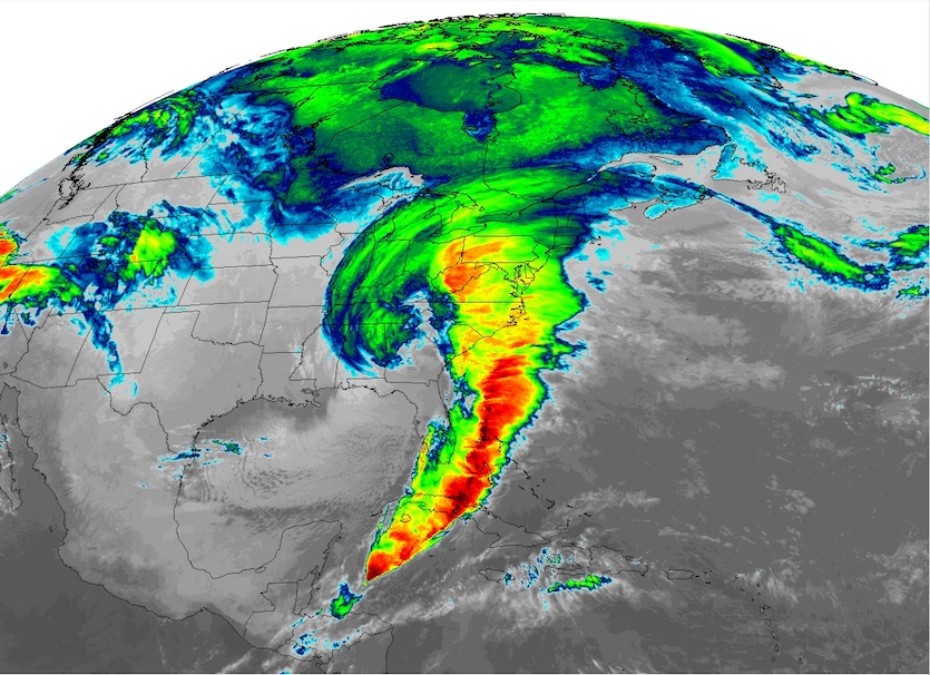 Storm of the Century as depicted in a Meteosat infrared satellite image at 7 am EST March 13, 1993