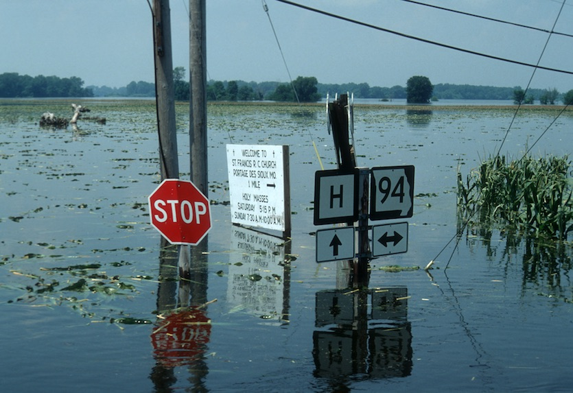Flooded fields and highways during Great Midwest Flood of 1993