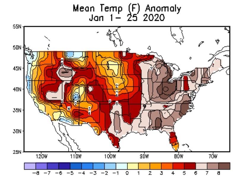 Departures from average temperature for contiguous U.S., 1/1-1/25/20