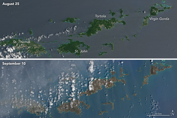 Browning of landscape across islands affected by Irma, 9/10/2017