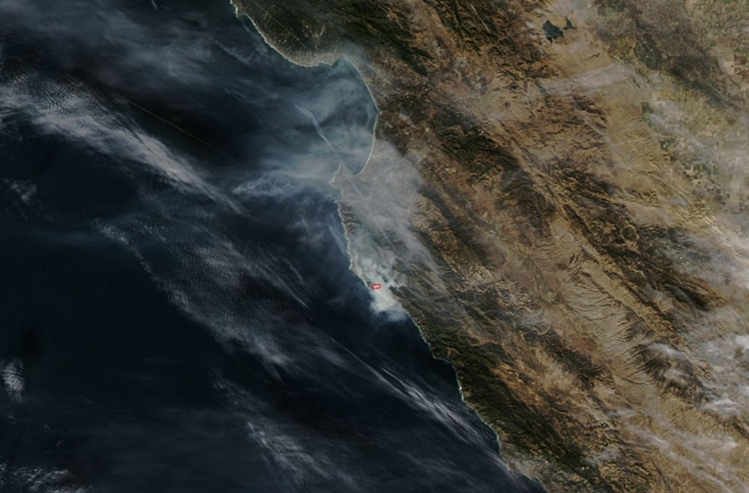 NASA/MODIS image of Pfeiffer Fire near Big Sur, California on December 16, 2013, at 1:05 pm PST.