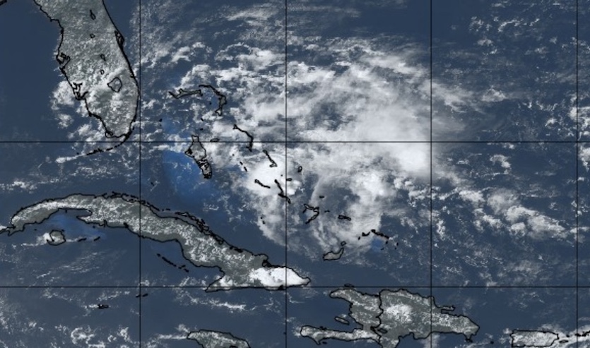 Natural-color satellite image of the tropical wave in the Bahamas as of 1845Z (2:45 pm EDT) Wednesday, May 1, 2019