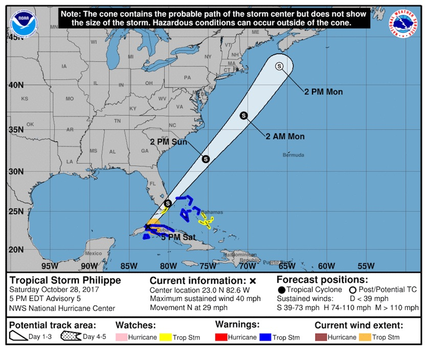 Figure 2. NOAA/NWS/NHC forecast for Tropical Storm Philippe as of 5 pm EDT Saturday, October 28, 2017. Image credit: NHC.
