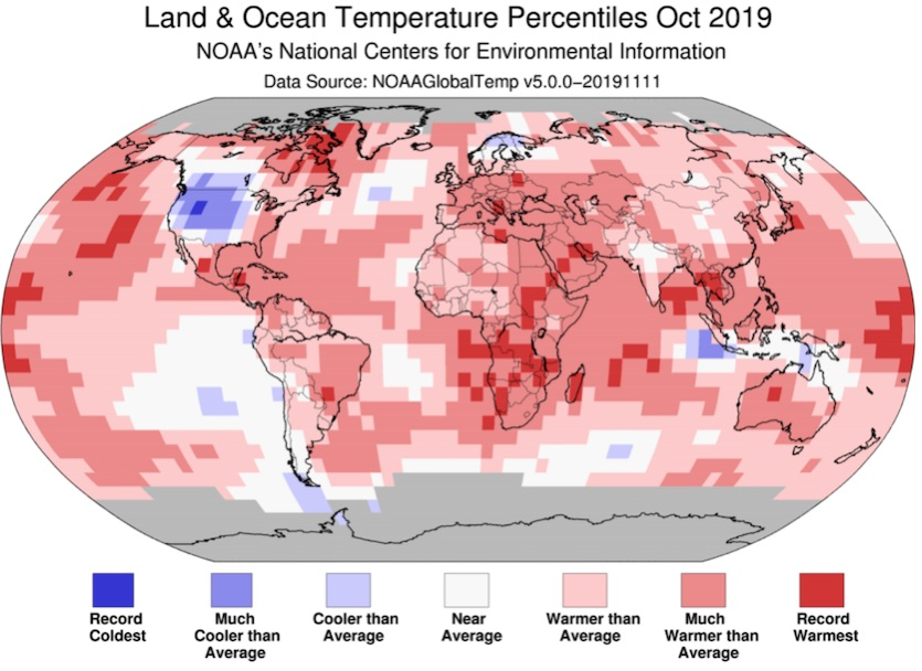 Departures from average temperature by region, Oct 2019