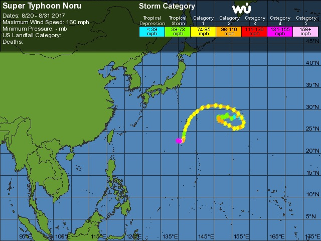 Super Typhoon Noru track history