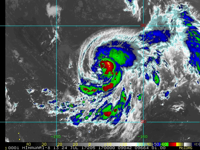 Infrared satellite image of Typhoon Nora, 17Z 7/24/2017