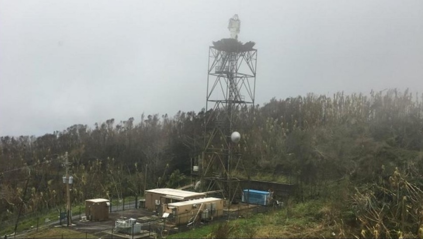 Damage from Hurricane Maria to NWS radar in Puerto Rico