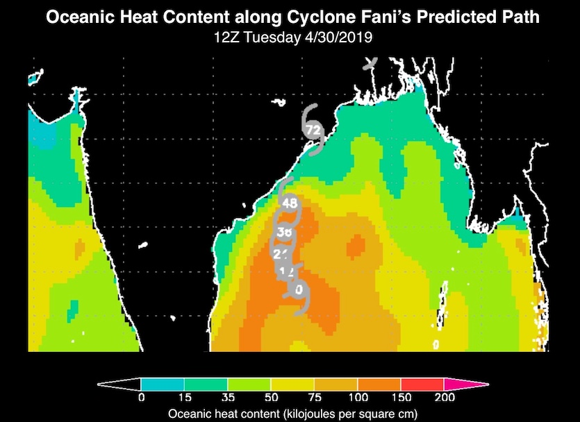 Oceanic heat content (OHC) along the path of Tropical Cyclone Fani projected by the Joint Typhoon Warning Center as of 12Z Tuesday, April 29, 2019