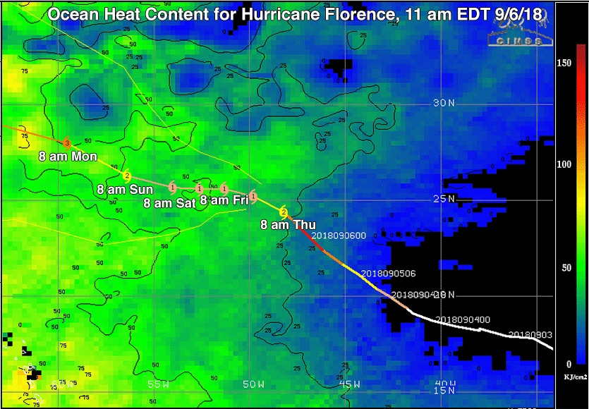 Ocean Heat Content (OHC) in kilojoules per square centimeter along the past and future predicted track (with forecast times in EDT) of Hurricane Florence as of the 11 am EDT Thursday, September 6, 2018 NHC advisory