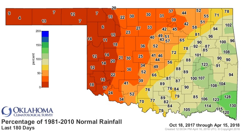 Percentage of average Oklahoma rainfall for 6 mos ending 4/15/2018