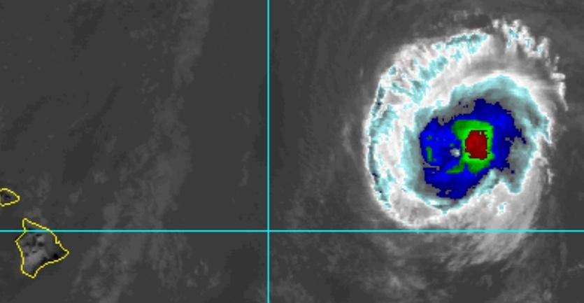 Enhanced infrared satellite image of Hurricane Olivia at 2245Z (6:45 pm EDT) Sunday, September 9, 2018
