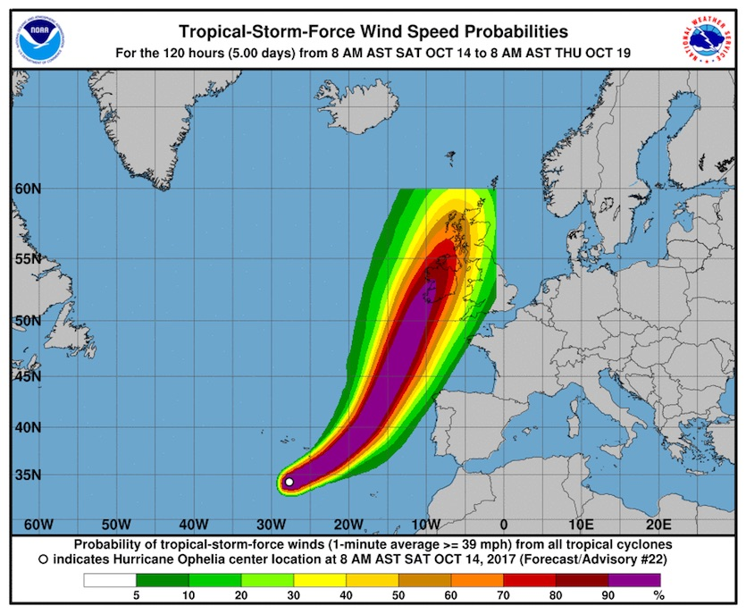 Probability of tropical-storm-force winds (sustained at 39 mph or more) along Ophelia's track, 12Z 10/14/2017