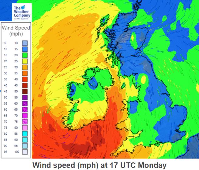 Ophelia wind forecast