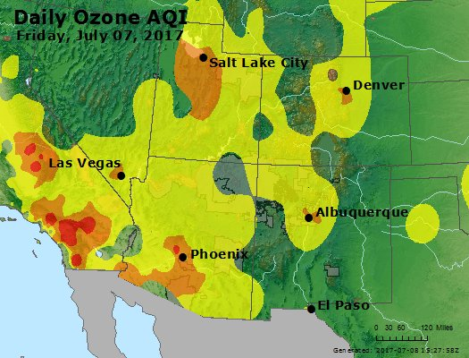 Daily ozone pollution for July 7