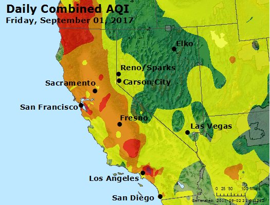 AQI for California/Nevada, 9/2/2017