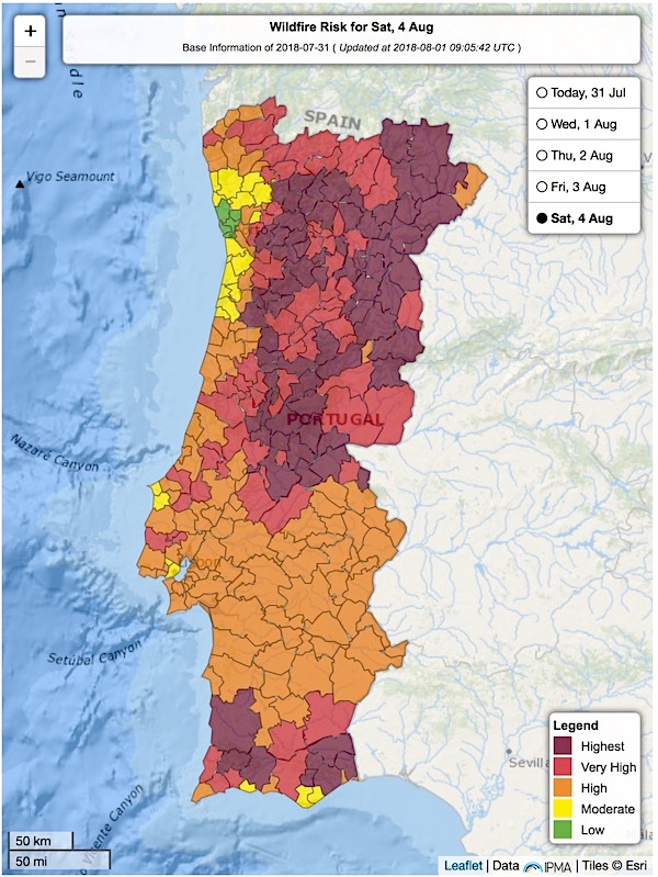 Fire weather outlook for Portugal on 8/4/2018, issued 8/1