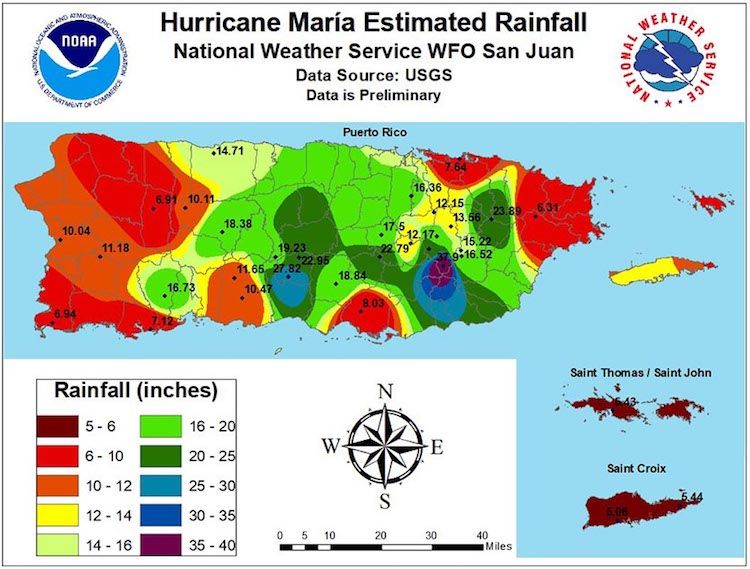 Rainfall from Maria in Puerto Rico through 9/21/2017
