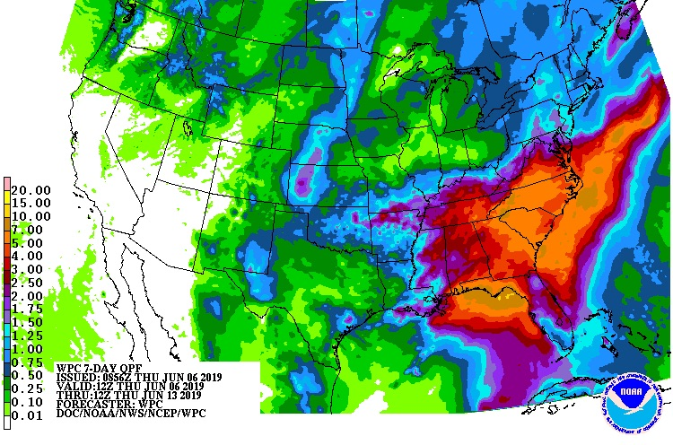 Projected precipitation for the seven-day period from 8 am EDT Thursday, June 6, 2018, through Thursday, June 13