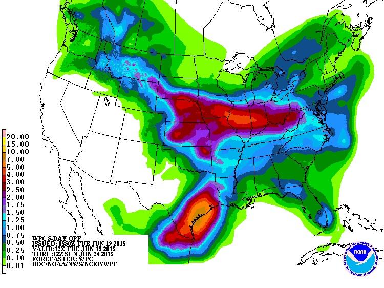 5-day precipitation outlook, 6/19/2018