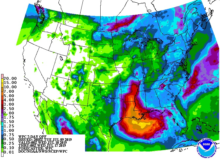 7-day rainfall forecast starting 0Z 7/10/19