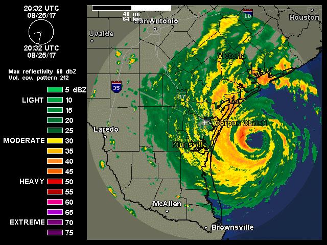 Radar depiction of Harvey at 2032Z 8/25/2017