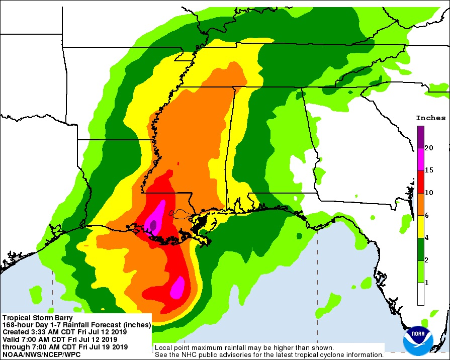 7-day rainfall forecast for Barry starting 12Z 7/12/19
