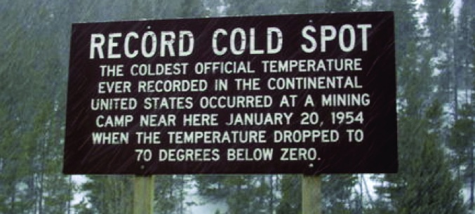 Sign marking the Rogers Pass record low