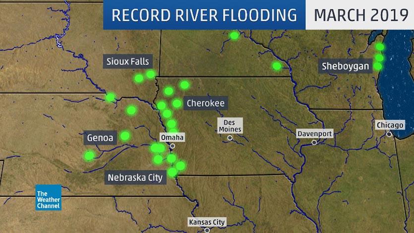 Record flood locations