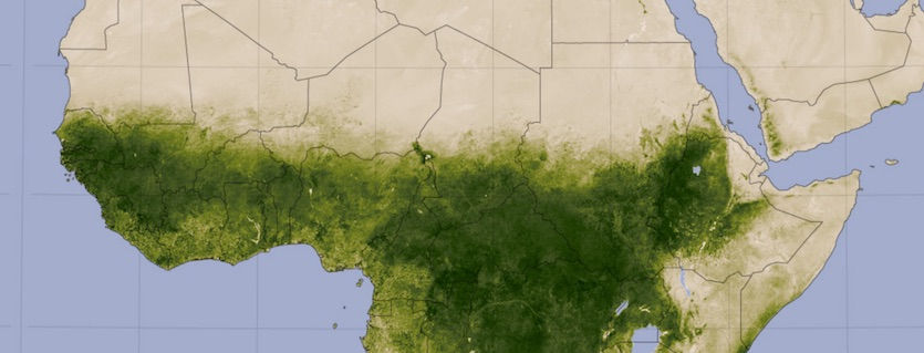 Vegetation index showing greening of the Sahel during North African summer