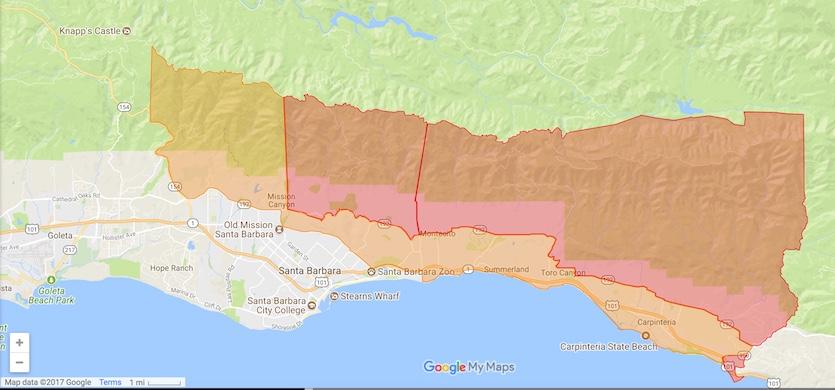 Evacuation zones in Santa Barbara County as of 8 am PST Monday, December 11, 2017