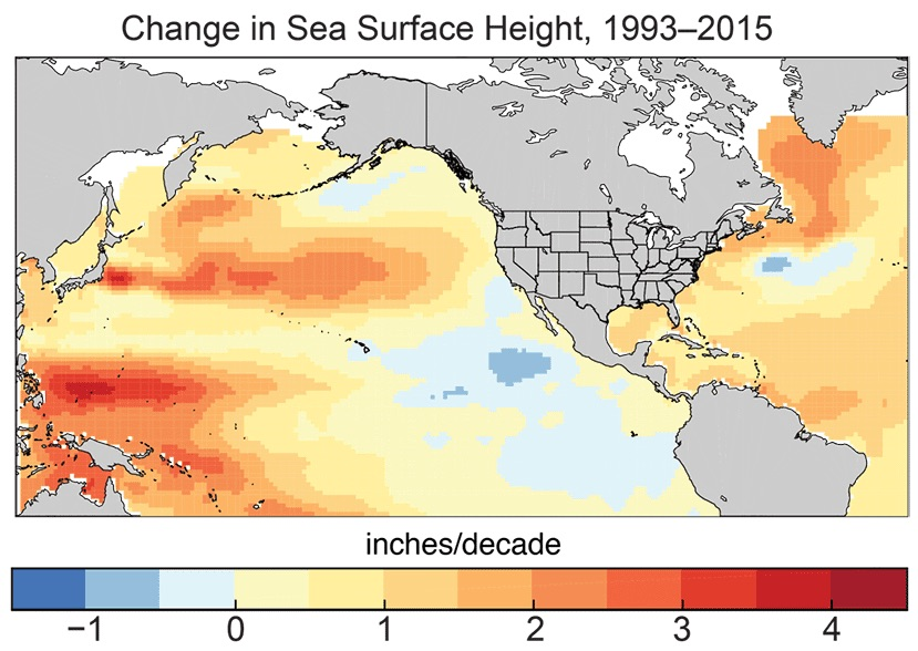Change in sea surface height, 1993-2015