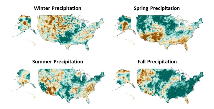Seasonal changes in precipitation over the United States