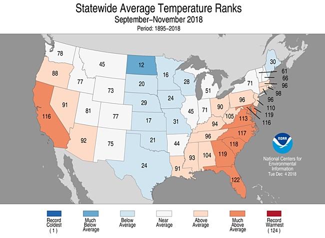 Statewide rankings for average temperature for September-November 2018