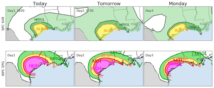 Outlooks for severe weather and excessive rain, 8/26-8/28/2017