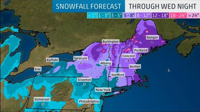 Snow forecast issued by weather.com early Monday, March 12, 2018