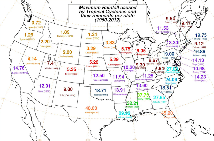 State-by-state record rainfalls from tropical cyclones, 1950-2012