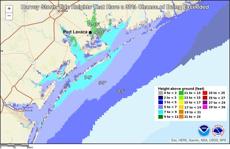 Harvey storm surge forecast