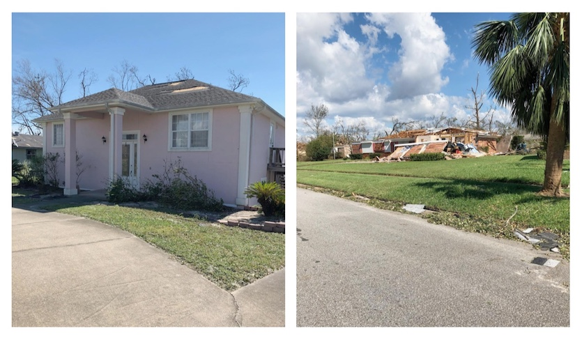 Comparison of two homes in Callaway, FL that experienced divergent levels of damage from Hurricane Andrew, 10/2018
